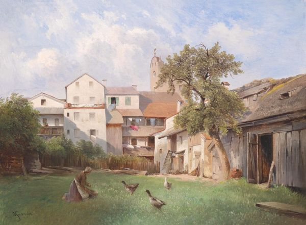 Carl Haunold Hof des Seifensiederhauses - Tittmoning festménye