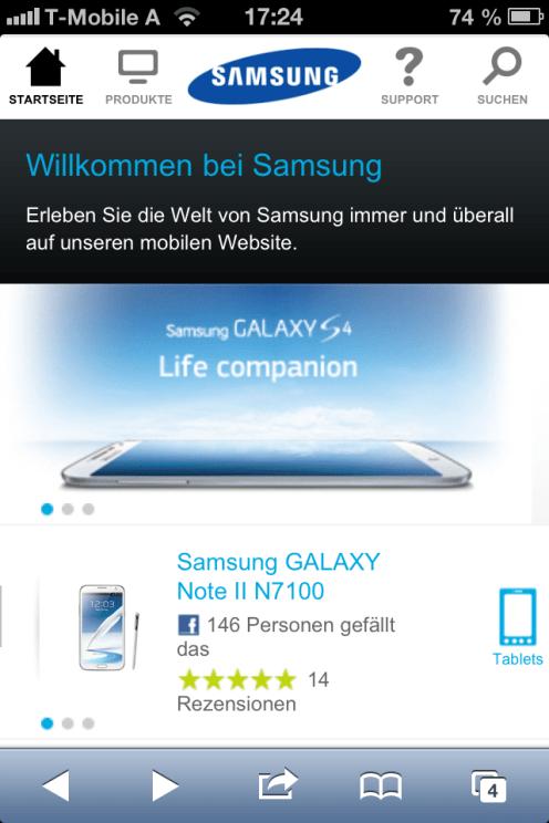 Samsung's Webseite auf dem iPhone