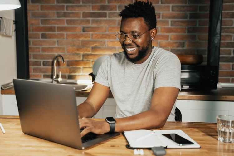 man using a laptop