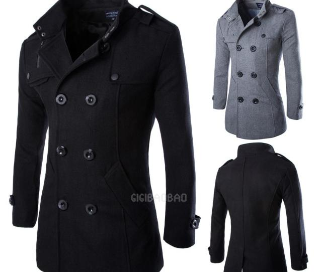 Wool Coat Mens Double Breasted Peacoat Long Men Jacket Winter Formal Dress Tops Ebay