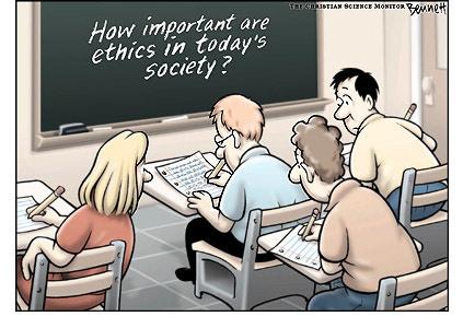 """A táblán: """"Mennyire fontos az etika korunk társadalmában?"""""""