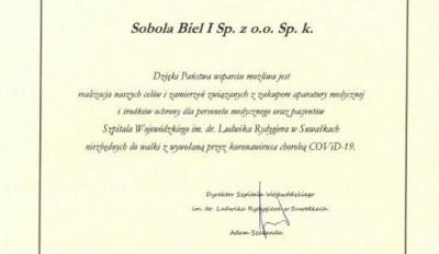 Podziękowanie – Sobola Biel i Sp. z o.o. Sp. k.