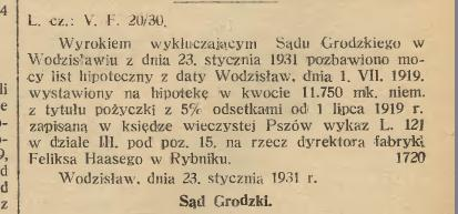 Haase wykluczenie hipoteki Gazeta Urzedowa 1931