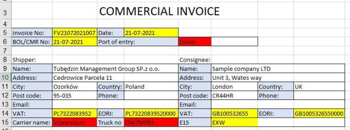 Jak wypełnić Commercial Invoice ?