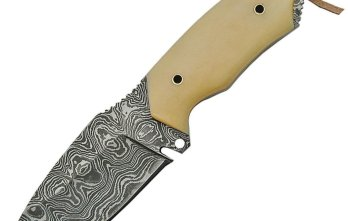 Damascus – Fixed Blade Hunter White Bone Handle