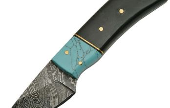 Damascus – Fixed Blade Turquoise and Horn Skinner