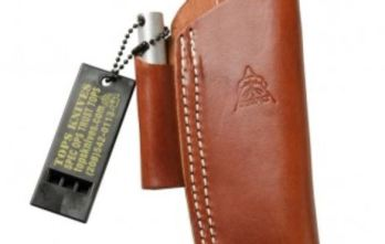 TOPS – Brown Leather Sheath on Dangler with Firesteel