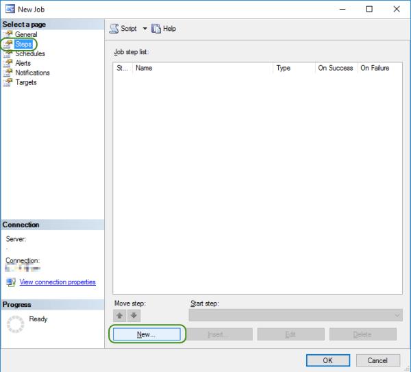 SQL Agent Job Add New Step