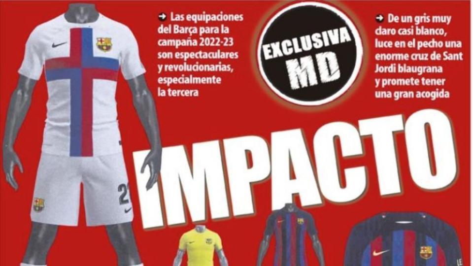 Barcelona's controversial 2022-23 third kit will be white. Screenshot/MundoDeportivo