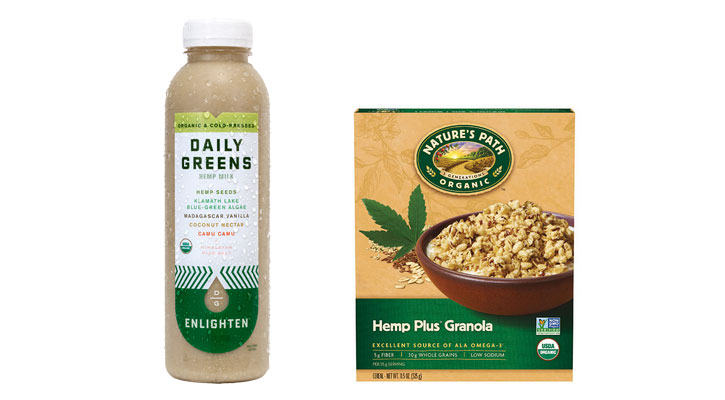 Daily Greens Hemp Milk (left) and Nature's Path Organic Hemp Plus Granola