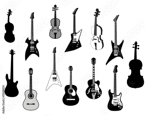 quotstringed instrument silhouettequot Stock image and royalty
