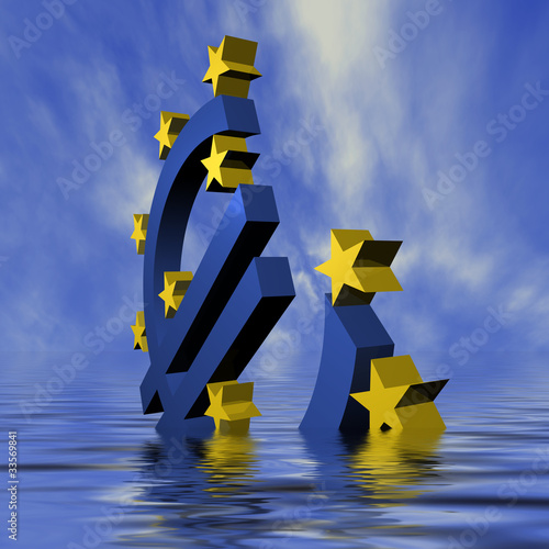 Euro geht im Meer unter - daylight
