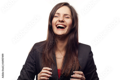 Business Woman laughing Aloud.