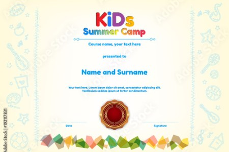 Kids Summer Camp Diploma or certificate template award seal with fun     Kids Summer Camp Diploma or certificate template award seal with fun  activities border