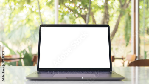 Mockup Image Of Laptop With Blank White Desktop Screen On Marble
