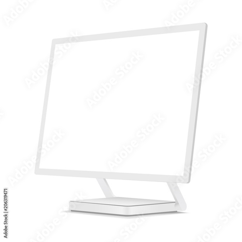 White Computer Monitor Mockup With Perspective 3 4 Right View