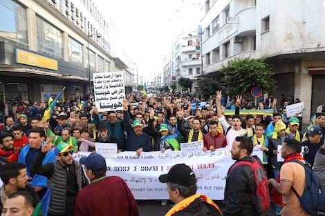amazigh_terre_marche_casa2_931876642 أمازيغ المغرب  يحجّونَ إلى البيضاء تنديدًا بـتسلّط الرحّل في سوس actualites