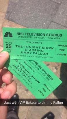 Winning VIP tickets to Jimmy Fallon!