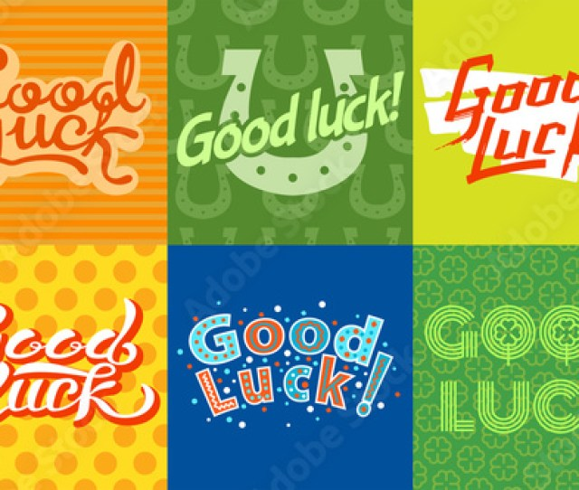 Good Luck Text Farewell Vector Lettering With Lucky Phrase Background Greeting Typography