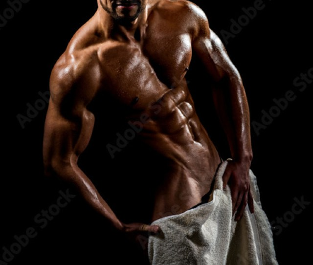 Naked Male Body With Towel Sexy Guy Covered Genitals With White Towel In Shower