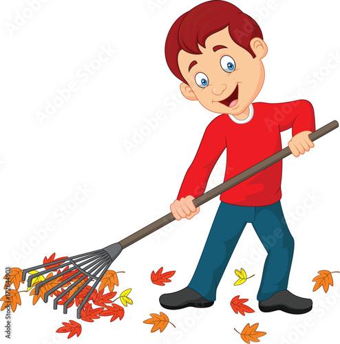 Helping Rake Leaves Clip Art