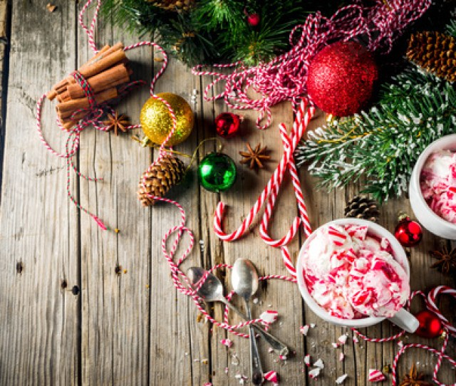 Christmas Dessert Homemade Peppermint Candy Cane Ice Cream In Two Cups Old Wooden Background