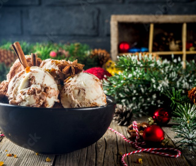 Christmas Dessert Homemade Eggnog Or Gingerbread Ice Cream With Cinnamon Anise Spices