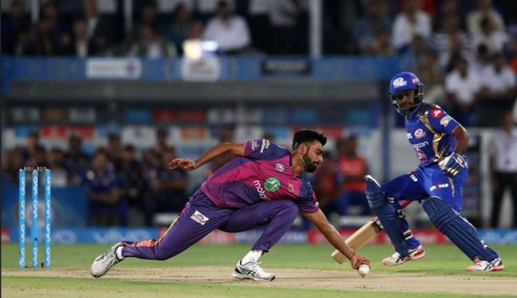 Some of the best fielding in the IPL final as Jayadev Unadkat takes a wonderful caught and bowled