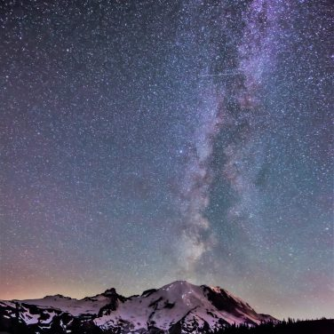 Mount Rainier Milky Way & Falling Star