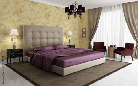 Chic luxury hotel purple gold bedroom  with chandelier  Stock photo     Chic luxury hotel purple gold bedroom  with chandelier