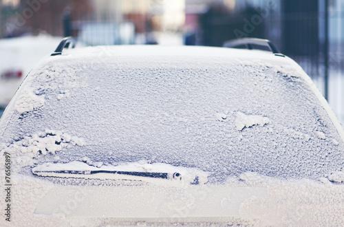 Frozen back window car in the snow
