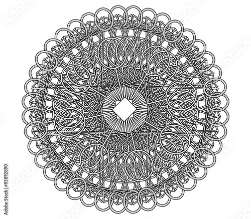 Geometric Complex Mandala Coloring Book Page Stock Photo