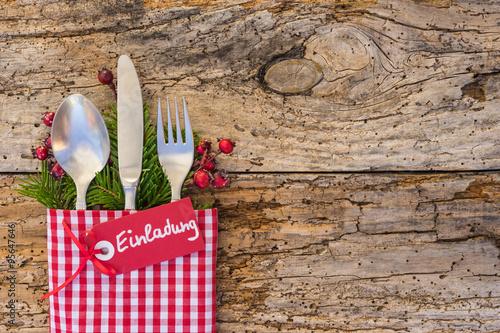 Weihnachten Einladung Essen Fest Feier Stock Photo And