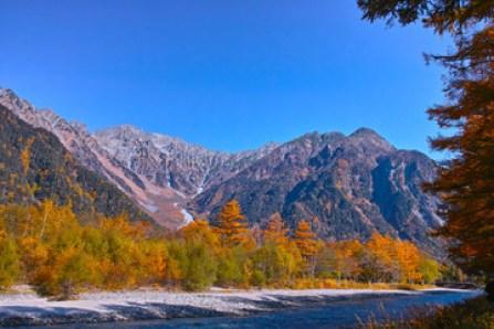 秋の上高地 紅葉と穂高連峰