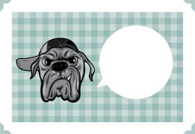 Greeting card with angry dog - place your text