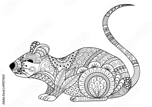 """""""hand drawn zentangle mouse for coloring book for adult"""