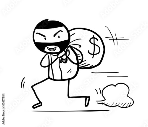 Money Theft Doodle A Hand Drawn Vector Doodle