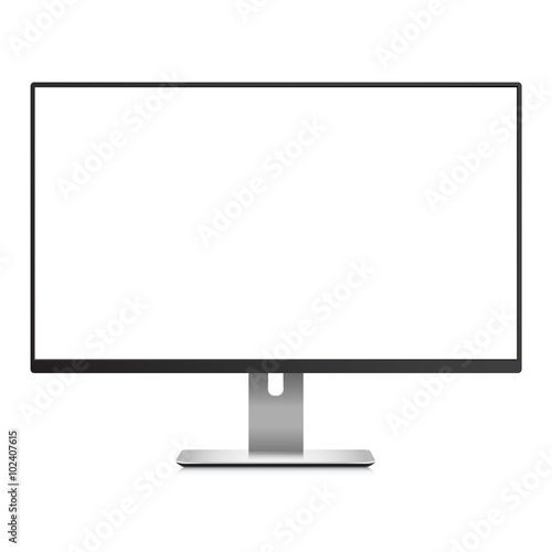 Computer Monitor With White Blank Screen Mockup Stock Image And