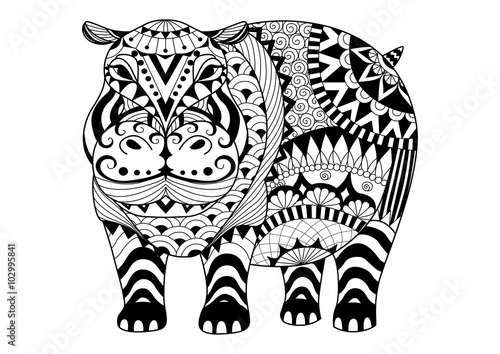 Hand Drawn Zentangle Hippopotamus For Coloring Book For