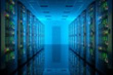 Server room in data center. Telecommunication equipment