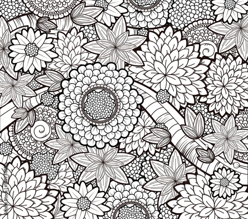 Vector Black And White Zendoodle Tattoo Floral Background