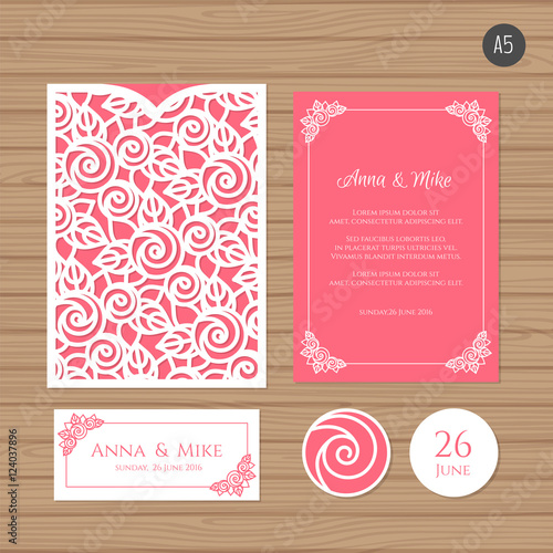 Wedding Invitation Or Greeting Card With Fl Ornament Paper Lace Envelope Template