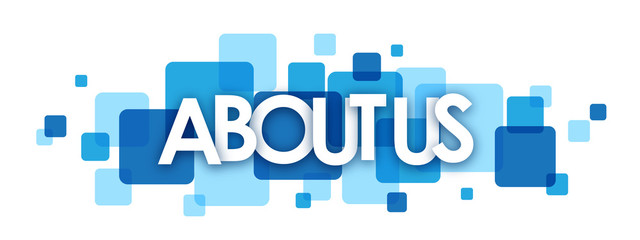 ABOUT US blue vector letters icon