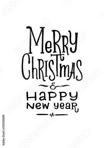 Merry Christmas Happy New Year Retro Vector Poster Black