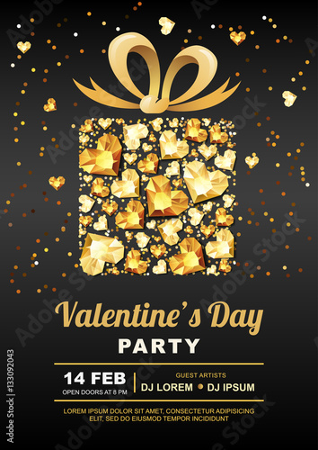 Valentines Day Party Vector Poster Design Template Gift