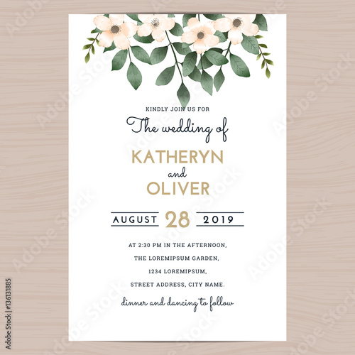 Save The Date Wedding Invitation Card Template With Flower Fl Leaf Vector Ilration