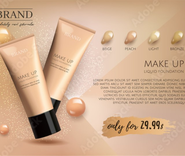 Modern Vip Cosmetic Ads Make Up Liquid Foundation For Sale Elegant Beige And Gold Color Face Cream Tube With Drops Of Cream Isolated On Glitter Sparkle
