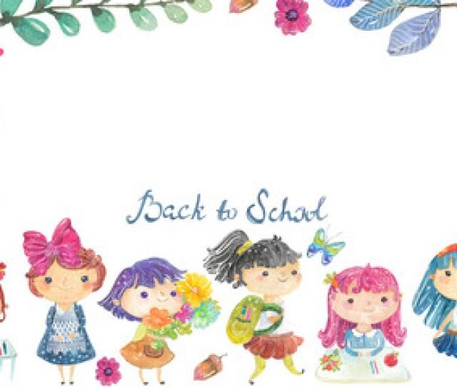 Welcome Back To School Cute Watercolor School Kids