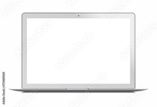 Laptop In Apple Macbook Air Style Mockup Front View Laptop With