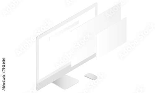 Computer Monitor Mockup With Blank Screen And Blank Web Wireframing